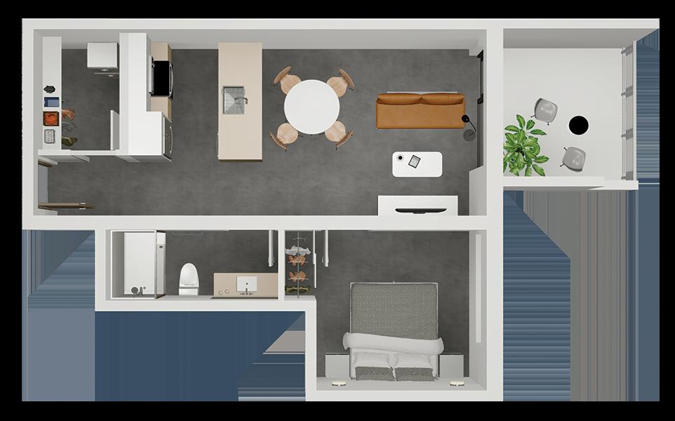 Suite B - floorplan 3d render