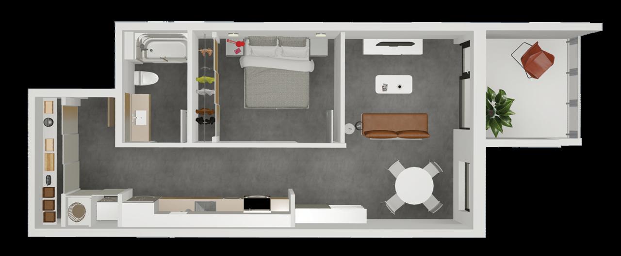 Suite C - 3d floor plan
